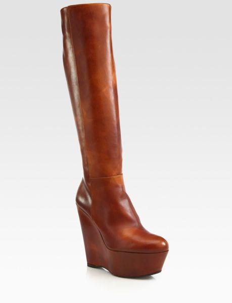 stuart weitzman leather kneehigh wedge boots in