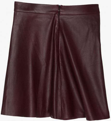 veda preorder chateau flared leather skirt in ruby