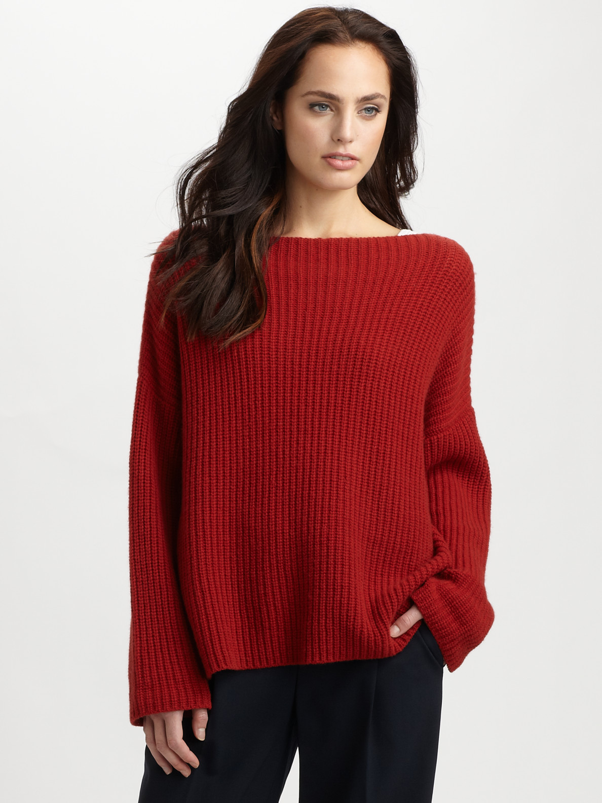 Vince Ribbed Boatneck Sweater in Red | Lyst