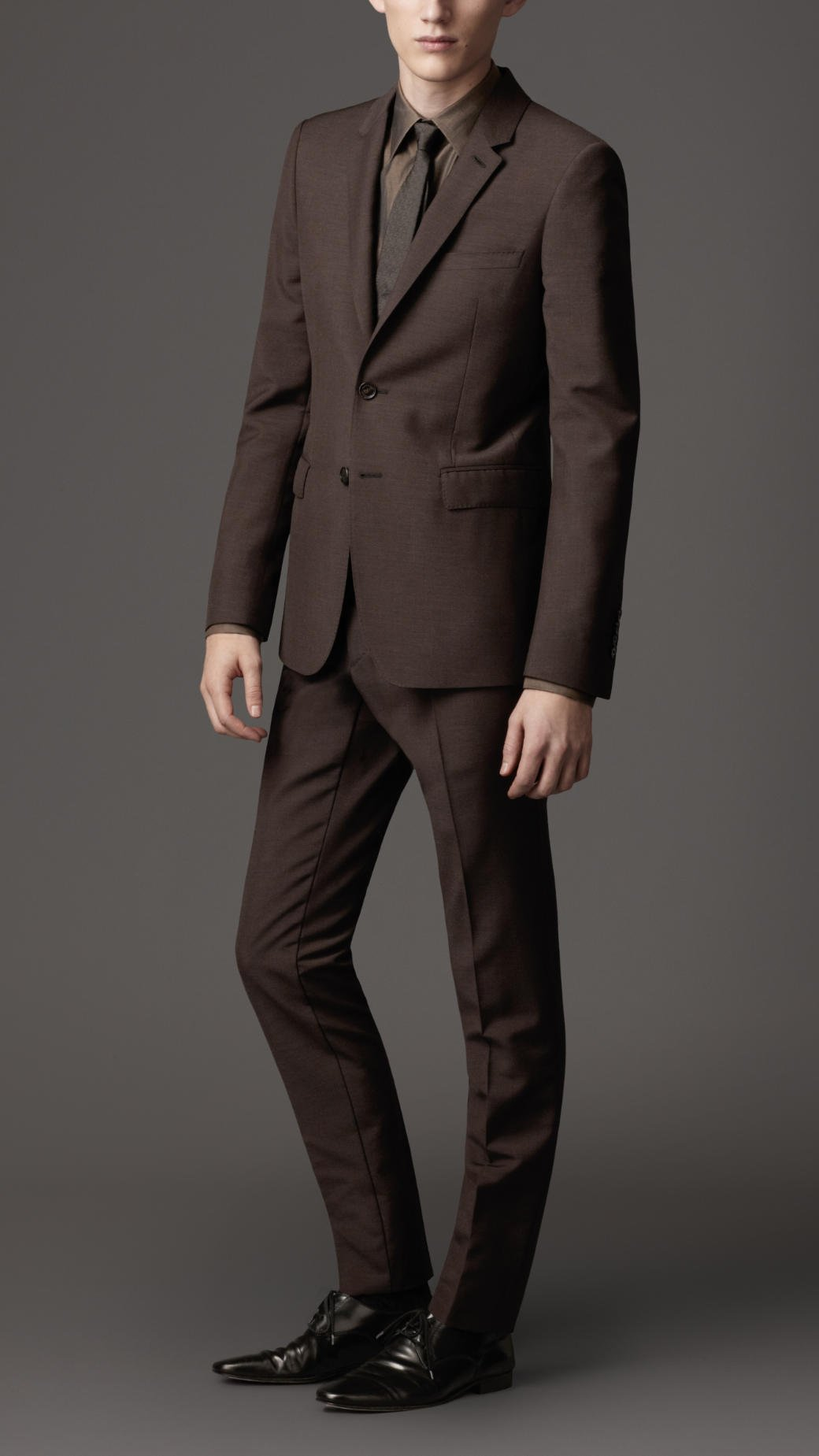 Burberry Slim Fit Wool Mohair Blend Suit in Brown for Men | Lyst