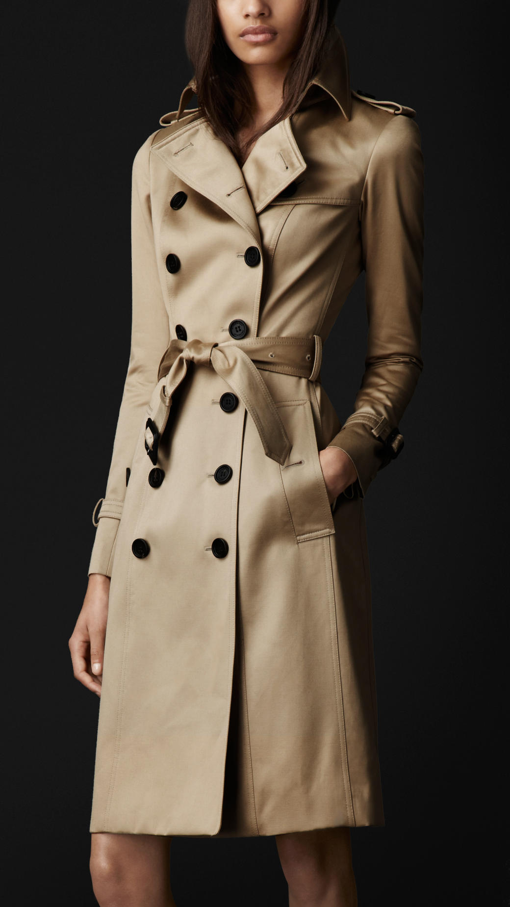 lyst burberry prorsum long cotton sateen trench coat in natural. Black Bedroom Furniture Sets. Home Design Ideas