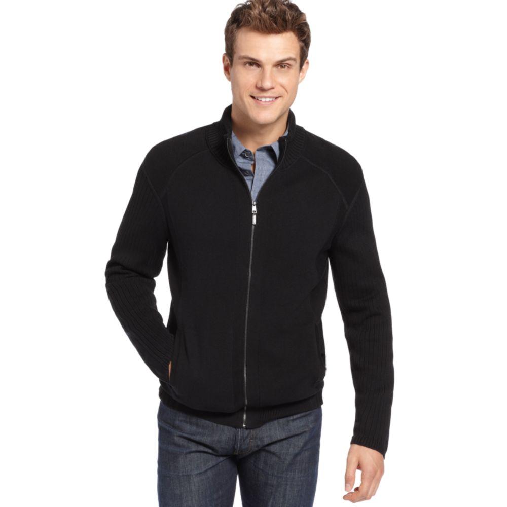 calvin klein full zip sweater in black for men lyst. Black Bedroom Furniture Sets. Home Design Ideas