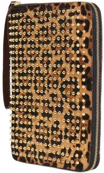 Christian Louboutin Cris Leopard Print Ponyskin Ipad Case in Gold