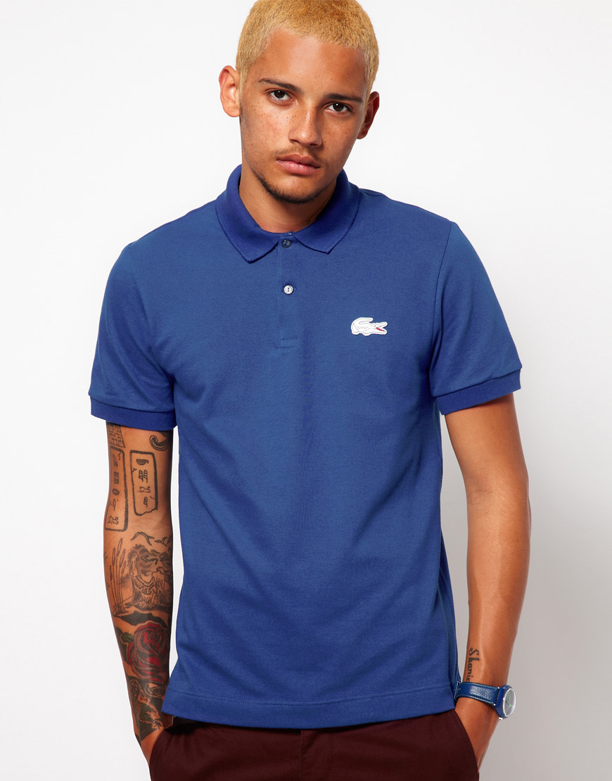 Lyst lacoste l ive lacoste live polo shirt in blue for men for Boys lacoste polo shirt