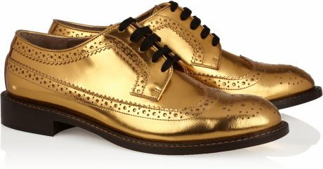 Marni Laminated Derby Brogue in Gold - Lyst