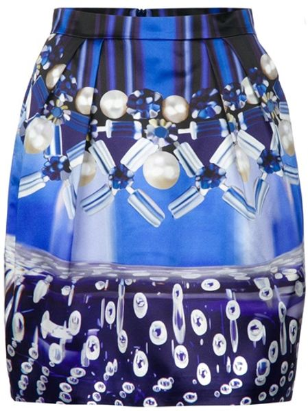 Mary Katrantzou Mini Corollaskirt in Silk with Allover Digital Print in Blue