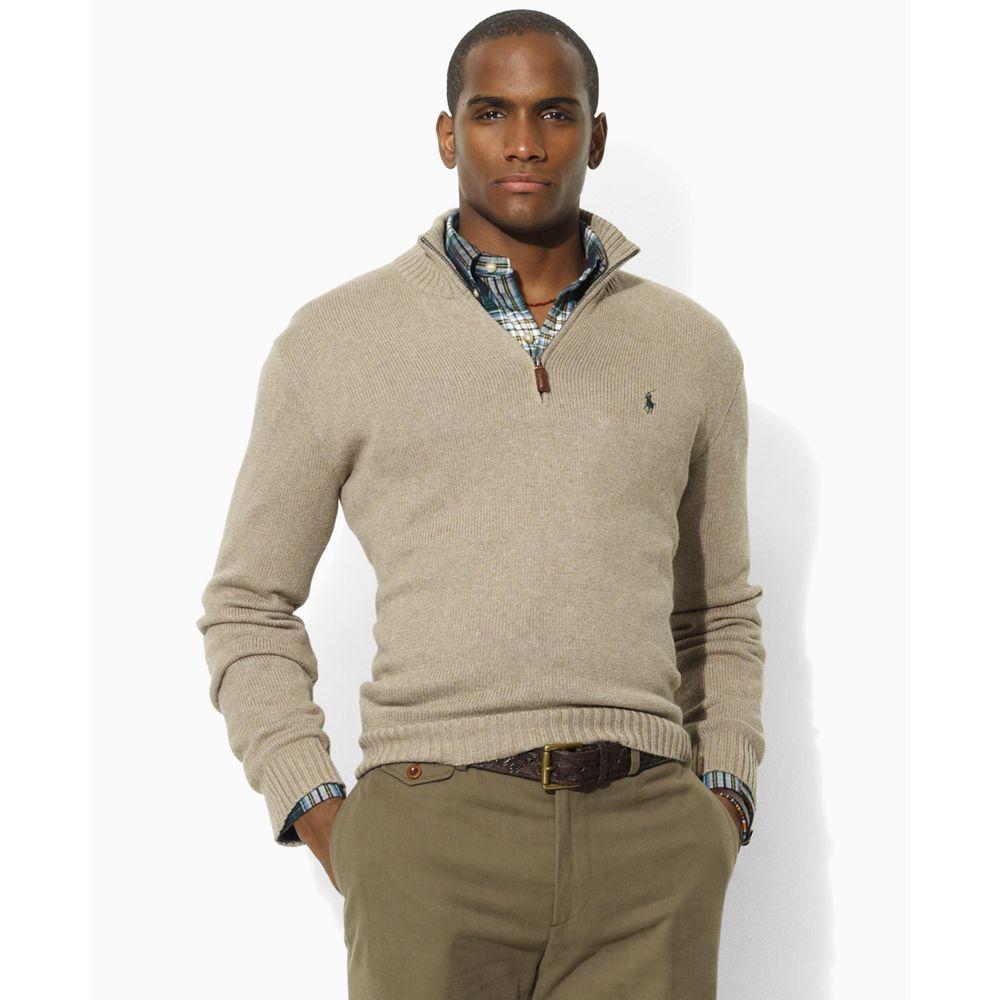Men Pullover Zip Mock Ralph For Half Lauren Natural Neck 5L3R4Aj