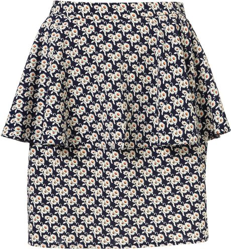 Topshop Navy Ditsy Floral Peplum Skirt in Blue (navy blue)