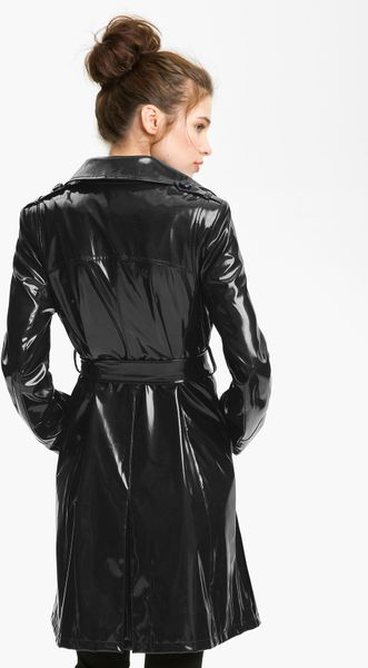 Via Spiga Double Breasted Patent Rain Slicker In Black Lyst