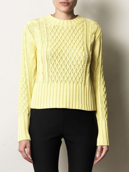 Acne Studios Lia Cable Knit Pullover in Yellow