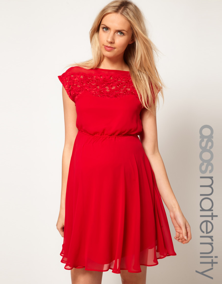 83f9834a16f ASOS Lace Insert Skater Dress in Red - Lyst