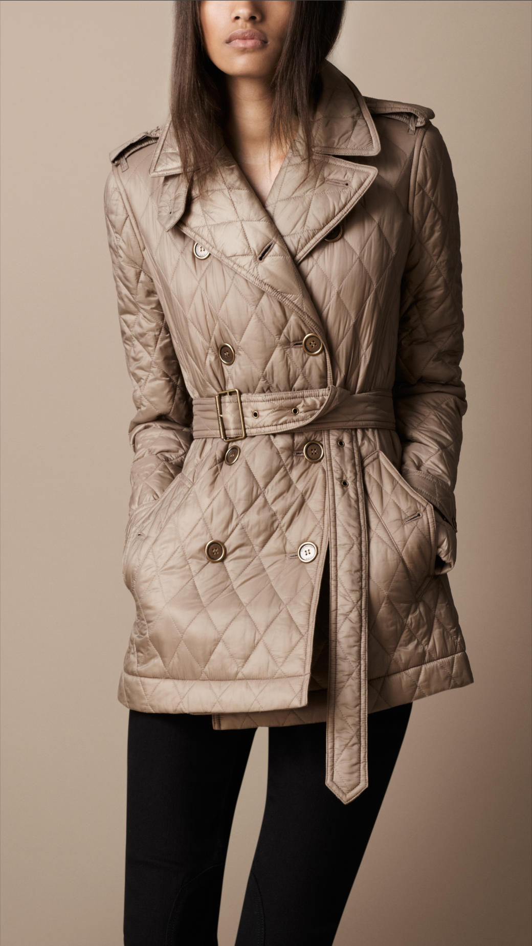 Burberry Brit Short Diamond Quilted Trench Coat In Natural