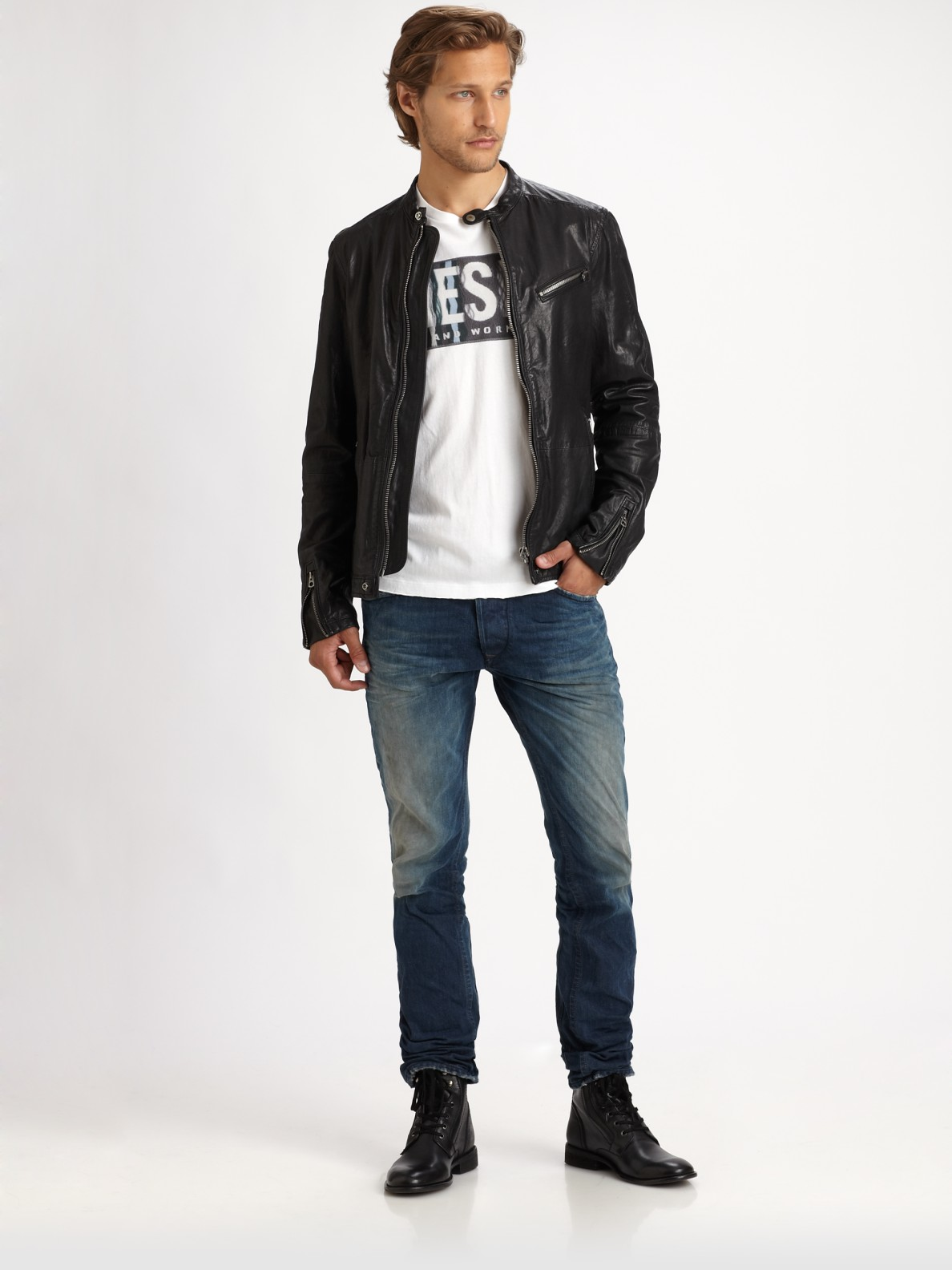 Mens Leather Moto Jacket