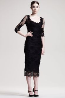 Dolce & Gabbana Elbowsleeve Ruched Tulle Dress - Lyst