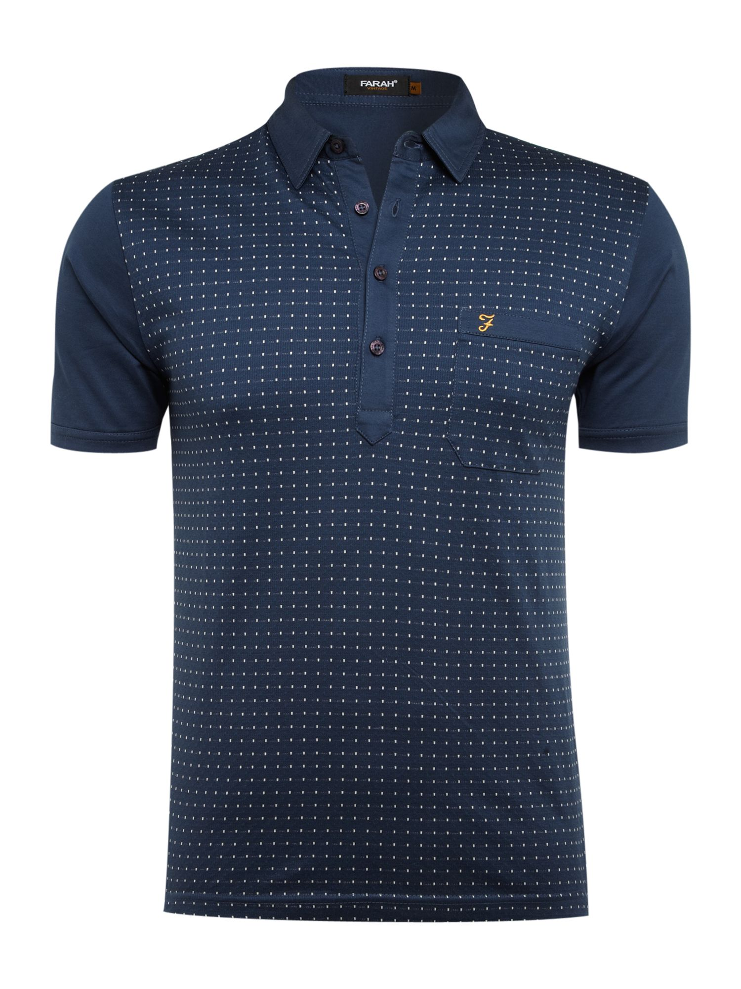 Lyst farah t shirt with dobby dot slim fit in blue for men for Polo shirts without buttons