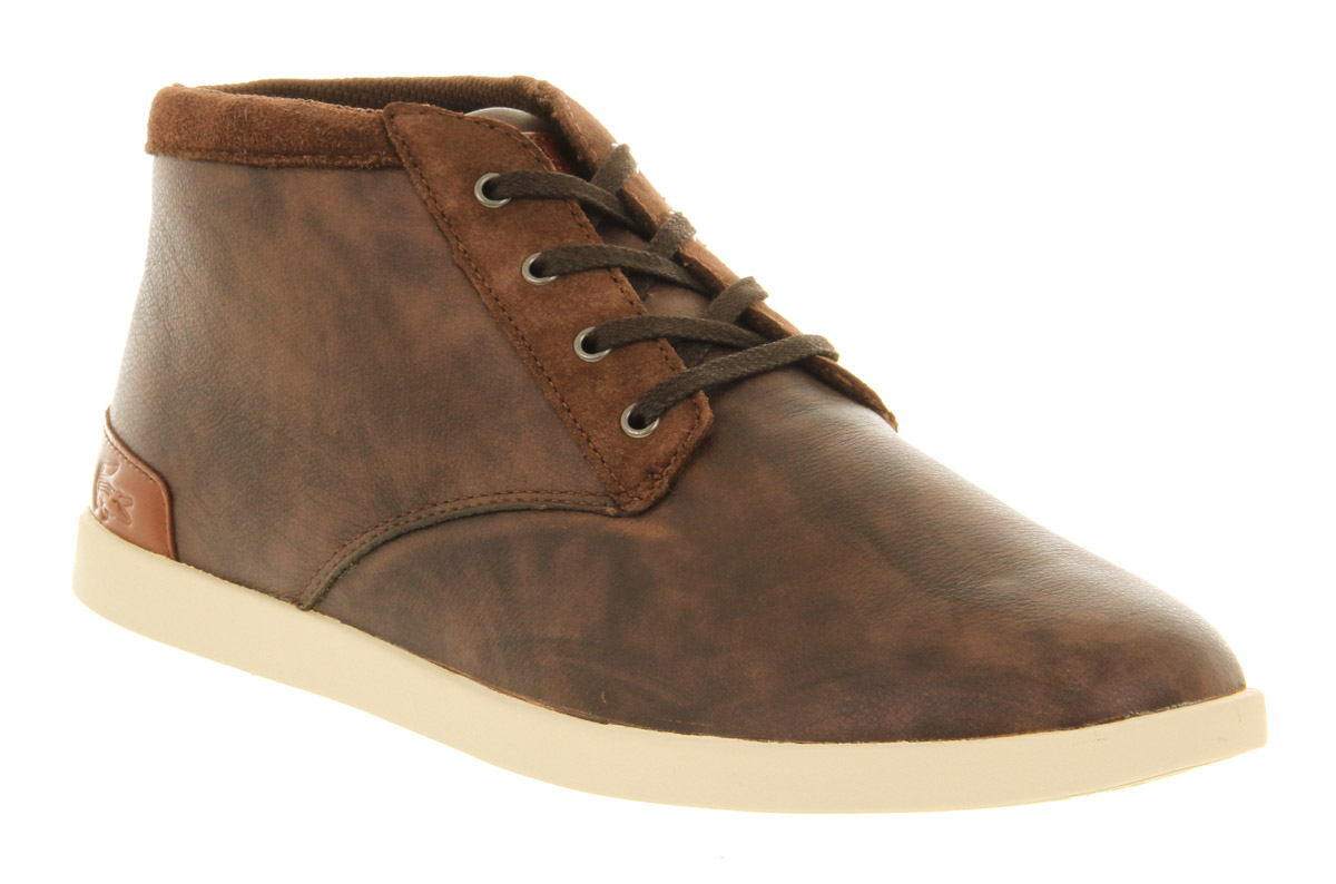 Lacoste Fairbrooke Chukka Brown Leather Canvas In Brown