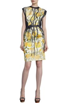 Lanvin Floral Cap Sleeve Dress - Lyst