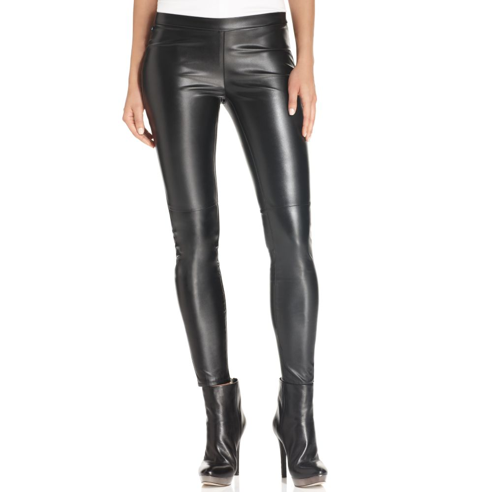 Michael Kors Michael Faux-Leather Leggings in Black