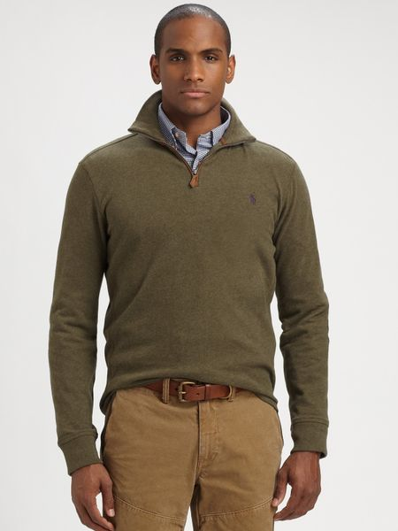 polo ralph lauren sueded jersey halfzip pullover in green for men. Black Bedroom Furniture Sets. Home Design Ideas
