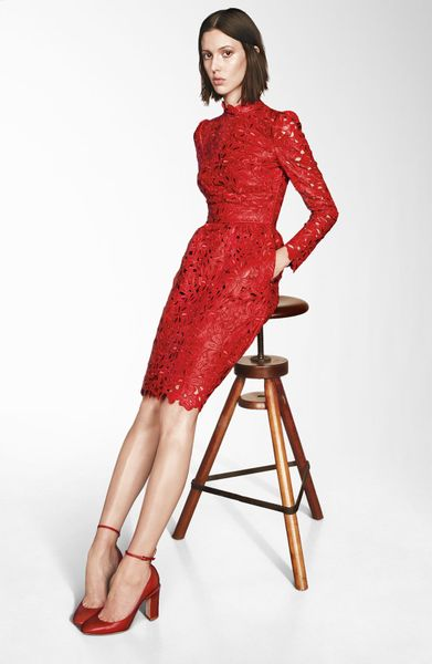 Valentino Laser Cut Leather Dress in Red - Lyst