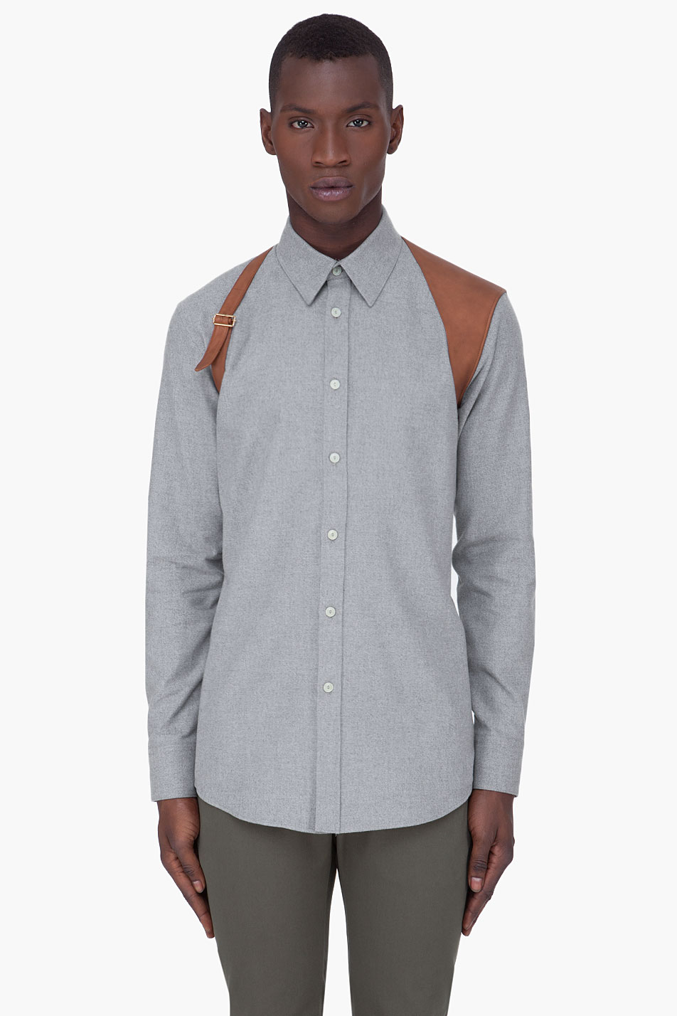 alexander mcqueen leather harness shirt in gray for men lyst
