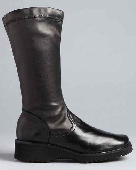 anyi lu wedge boots greer in black black stretch nappa
