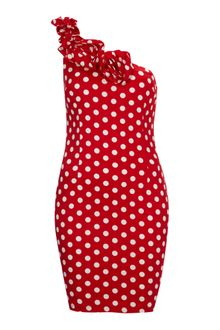 Ax Paris Ax Paris Polka Dot One Shoulder Dress - Lyst