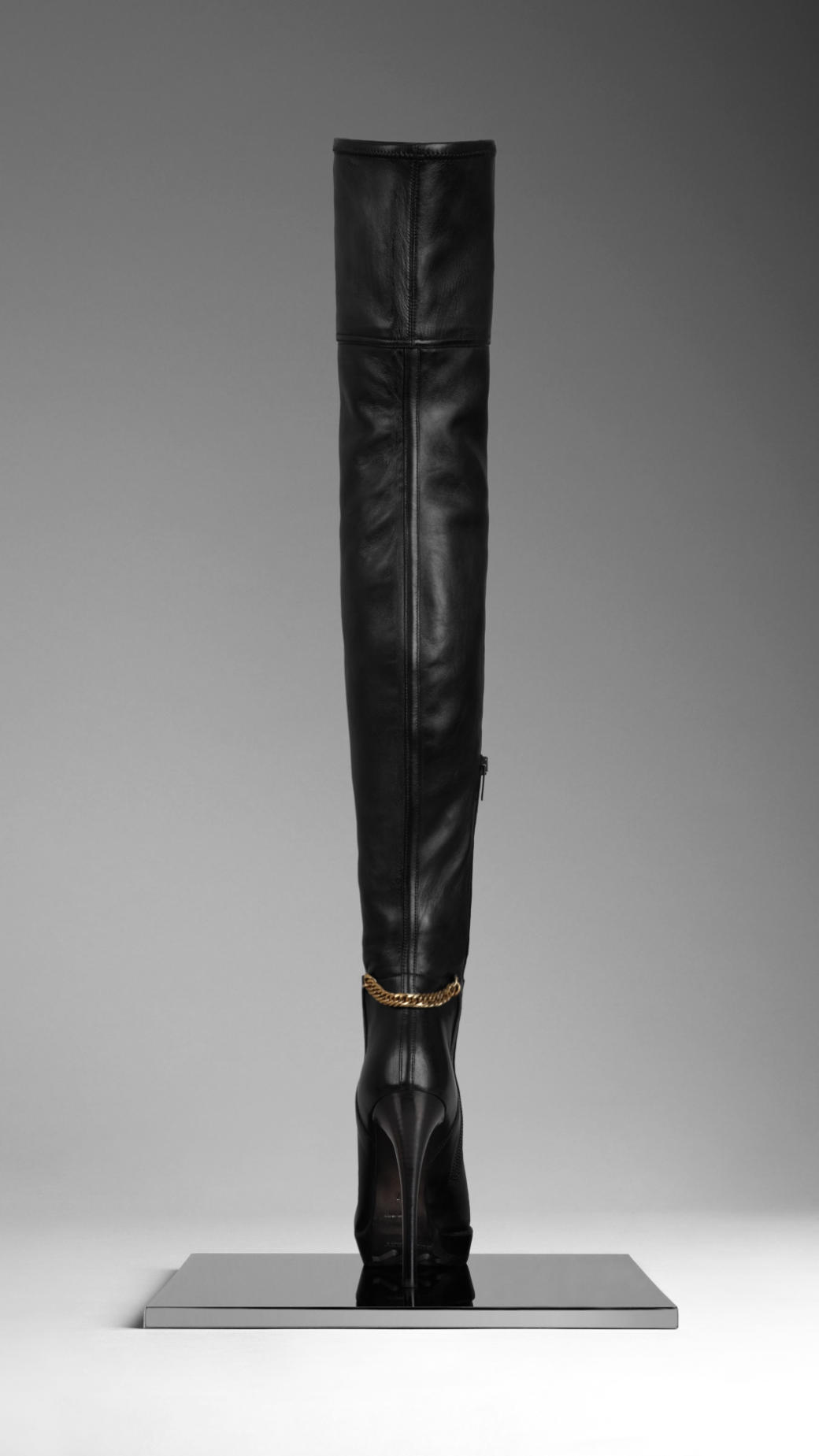 Burberry Ankle Chain Leather Boots in Black