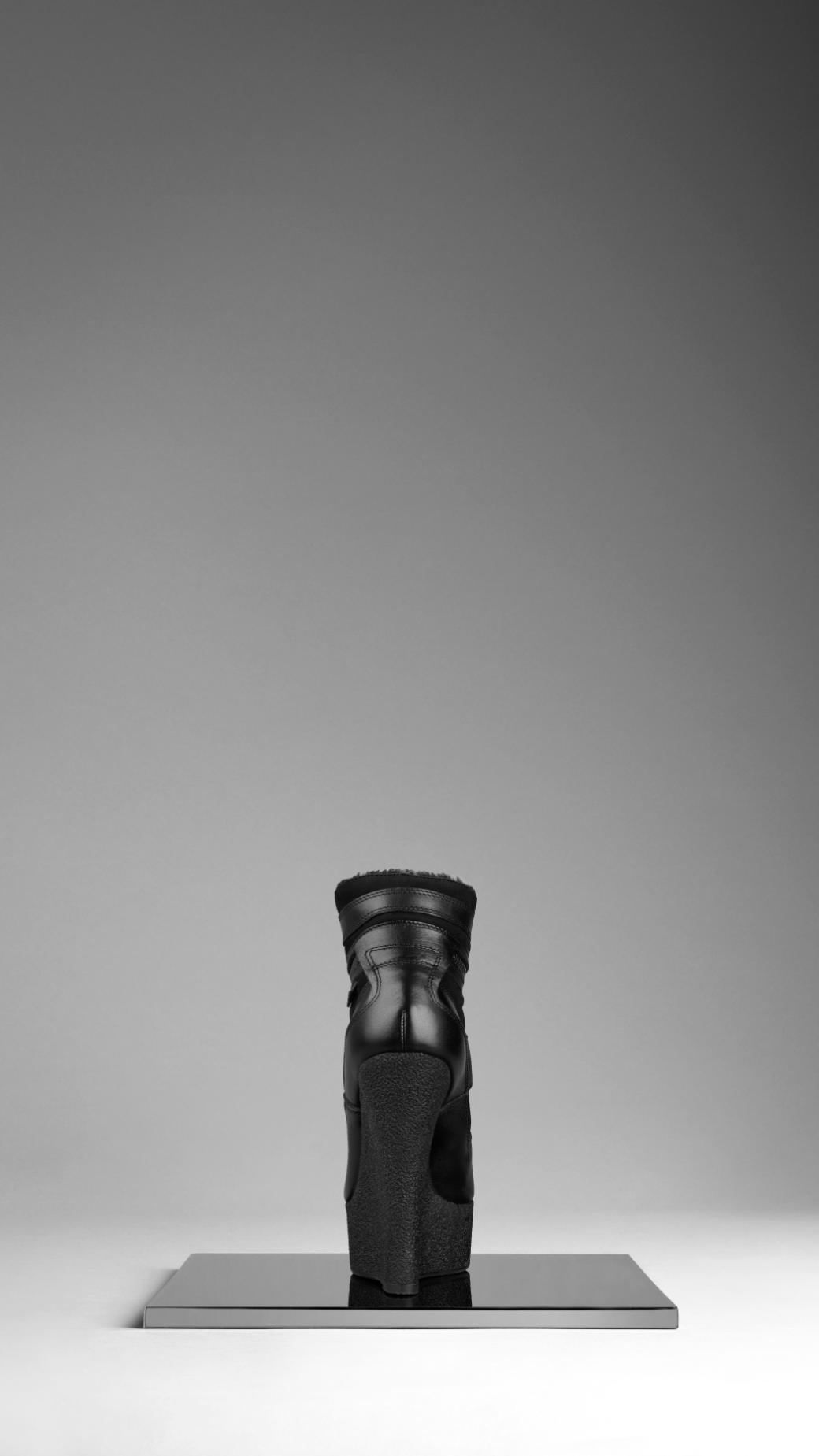 Burberry Suede Platform Wedge Trainers in Black