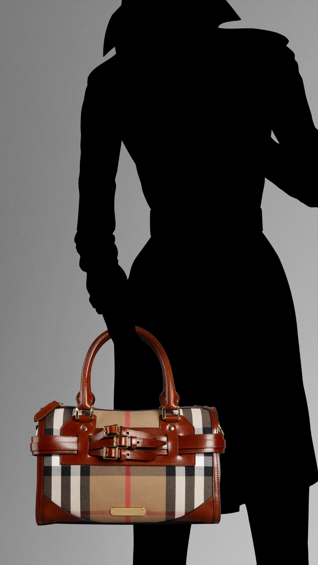 90cb71f52eb Lyst - Burberry Medium Check Belted Bowling Bag in Brown