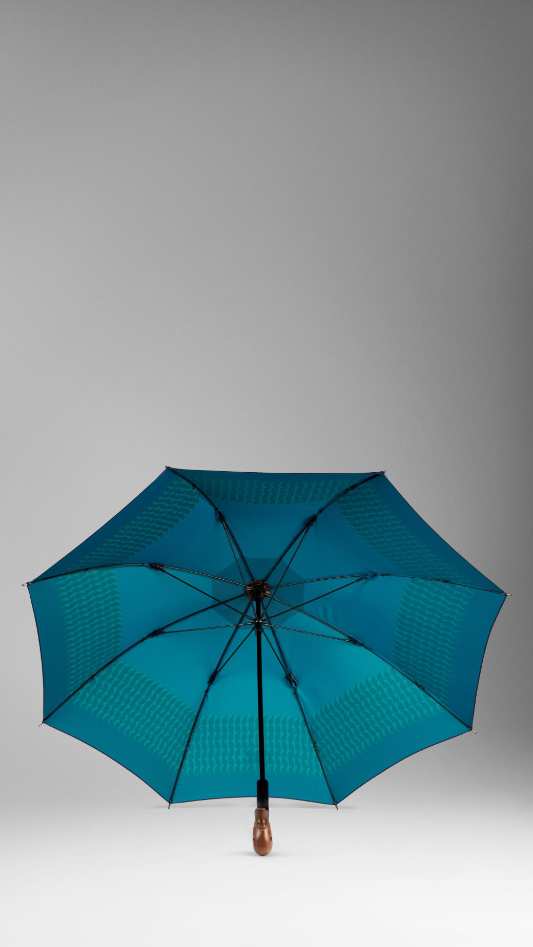 Lyst Burberry Duck Handle Striped Walking Umbrella In Blue