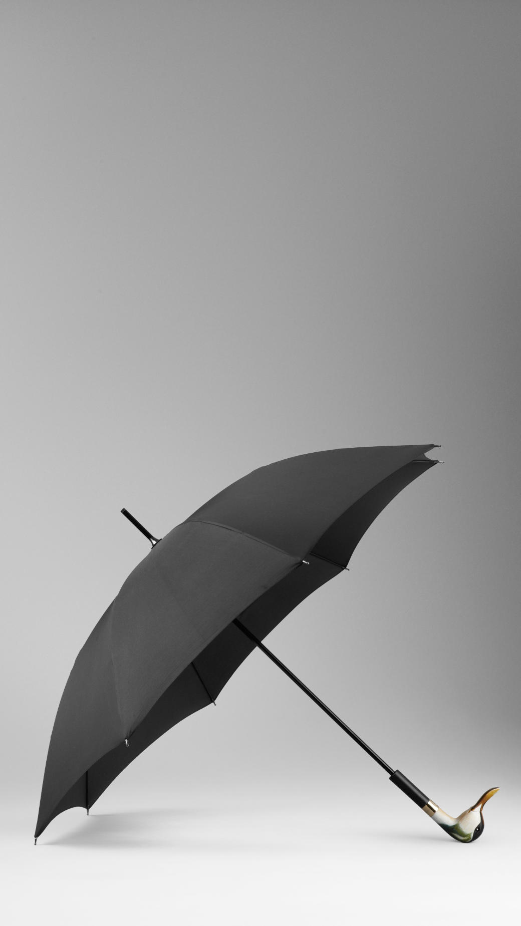 Burberry Duck Handle Walking Umbrella In Natural Black