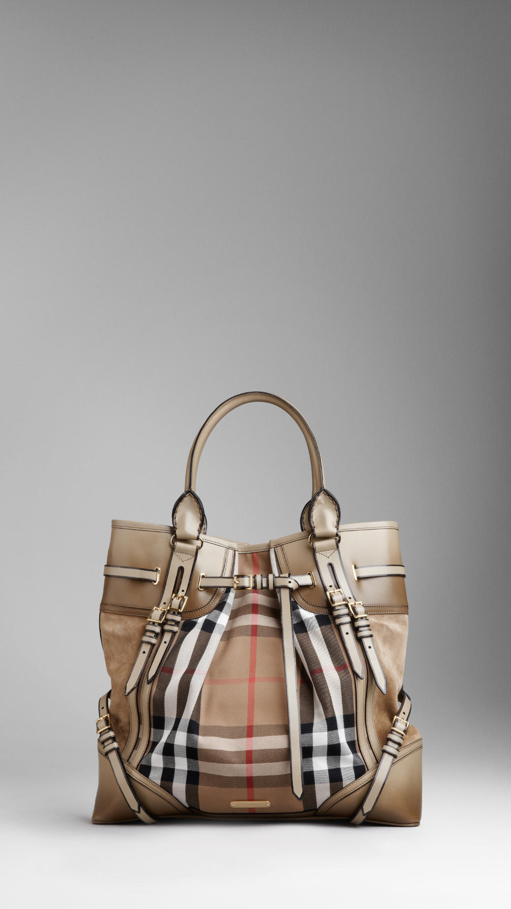 b5e3668ed2d Burberry Large Bridle House Check Whipstitch Tote Bag in Gray - Lyst