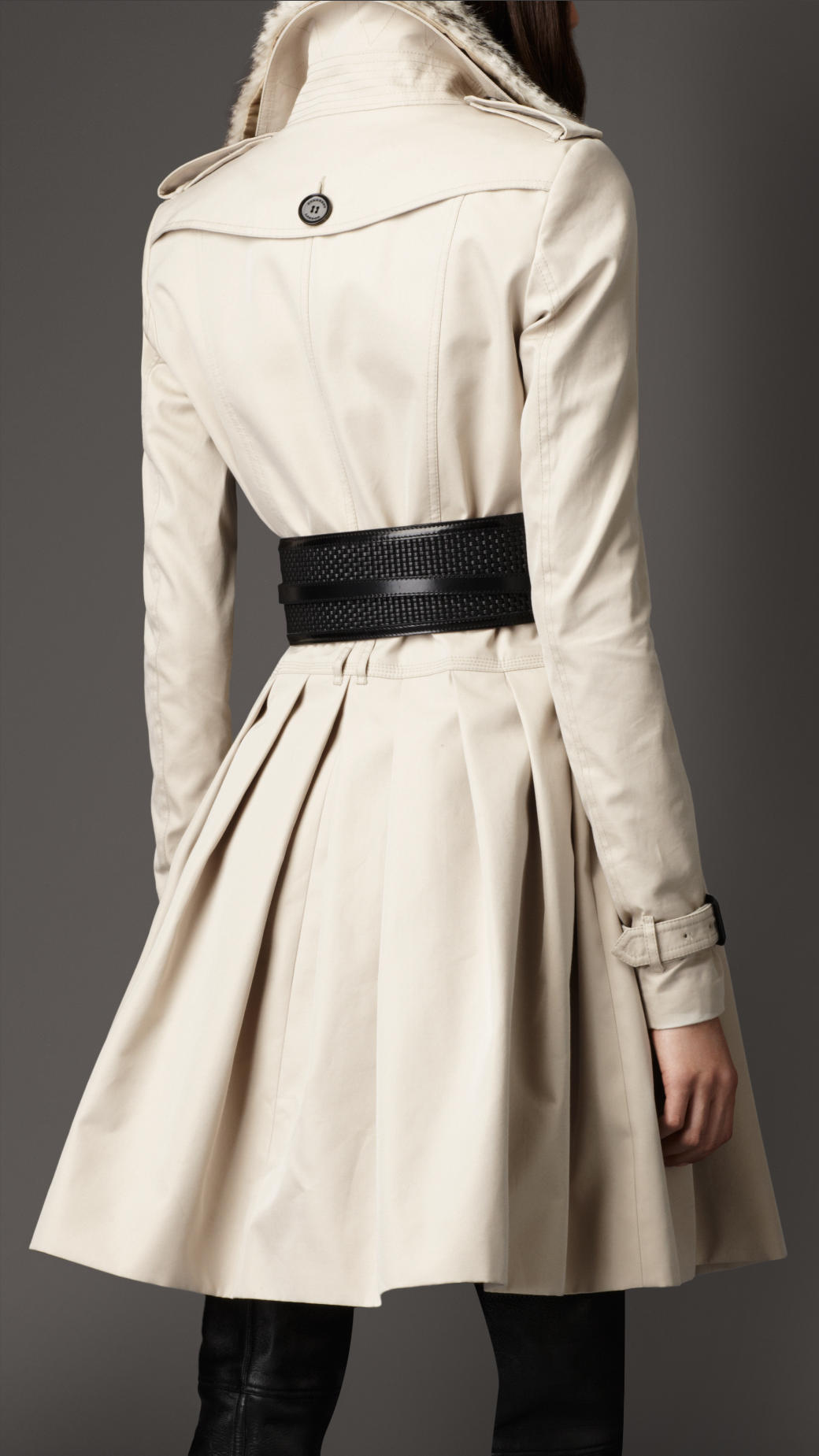Burberry Midlength Cotton Gabardine Fur Collar Trench Coat