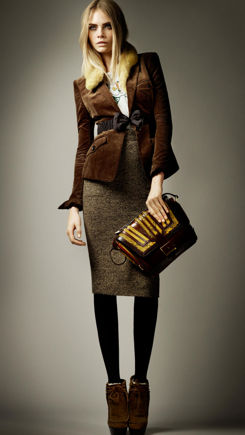 Burberry Framed Python Crossbody Bag in Brown