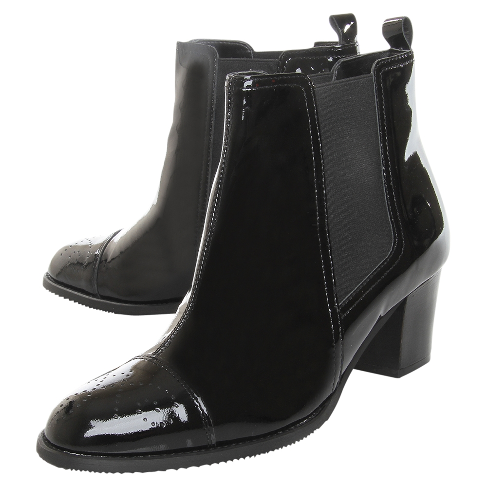 Carvela Kurt Geiger Scarlet Patent Leather Brogue Toecap Chelsea Boots in Black