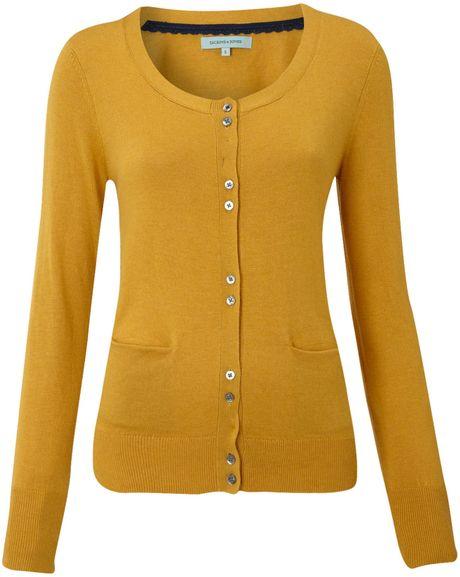 Womens Mustard Yellow Cardigan Sweater - Gray Cardigan Sweater