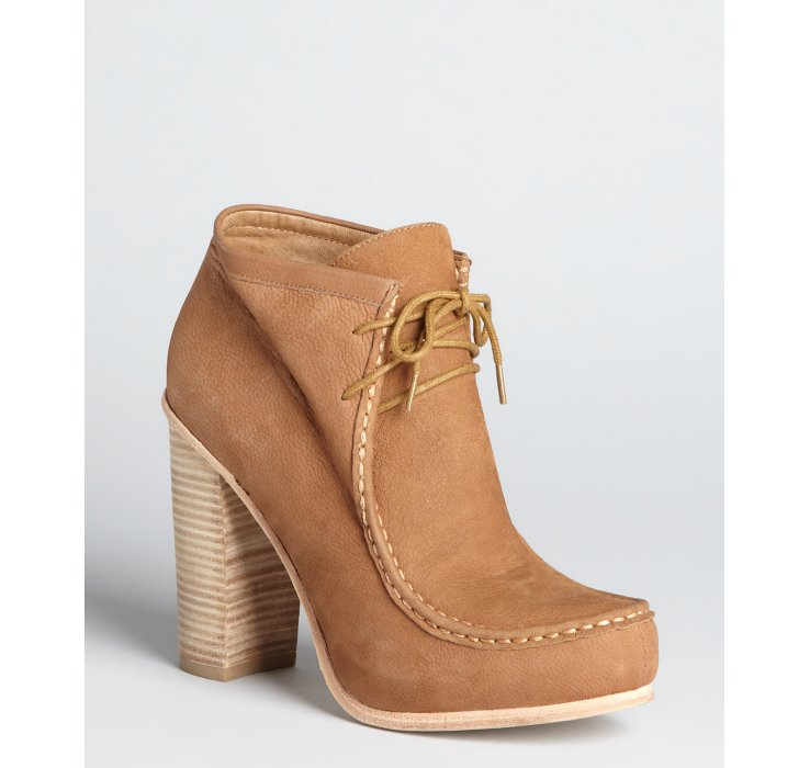 dolce vita cognac leather stacked heel moccasin boots