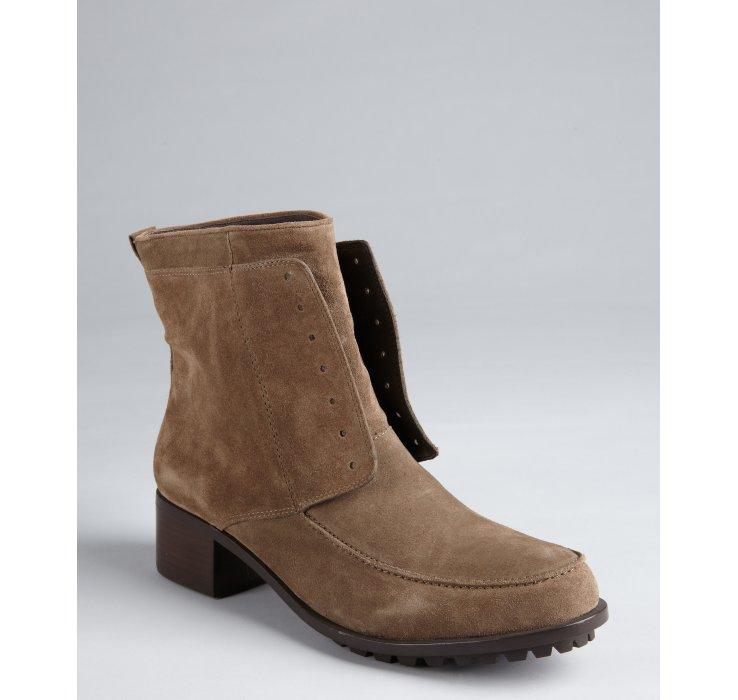 elizabeth and taupe suede wilda block heel boots in