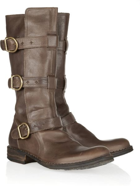 Fiorentini + Baker Eternity Buckled Leather Midcalf Boots in Brown
