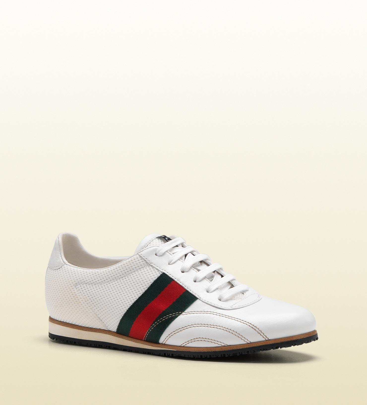 Lyst Gucci Laceup Sneaker With Signature Web Detail In