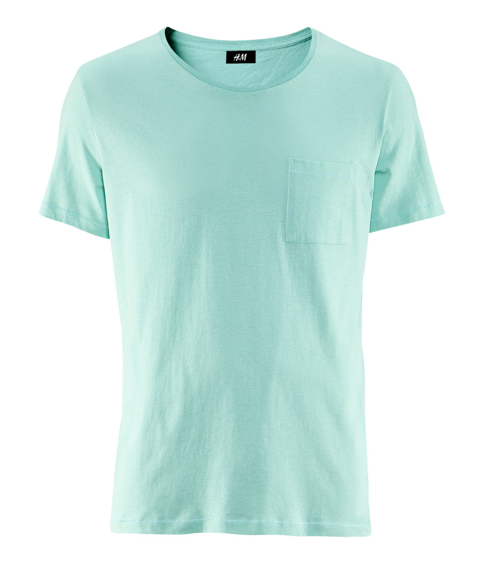 H m t shirt in green for men mint lyst for Mint color polo shirt