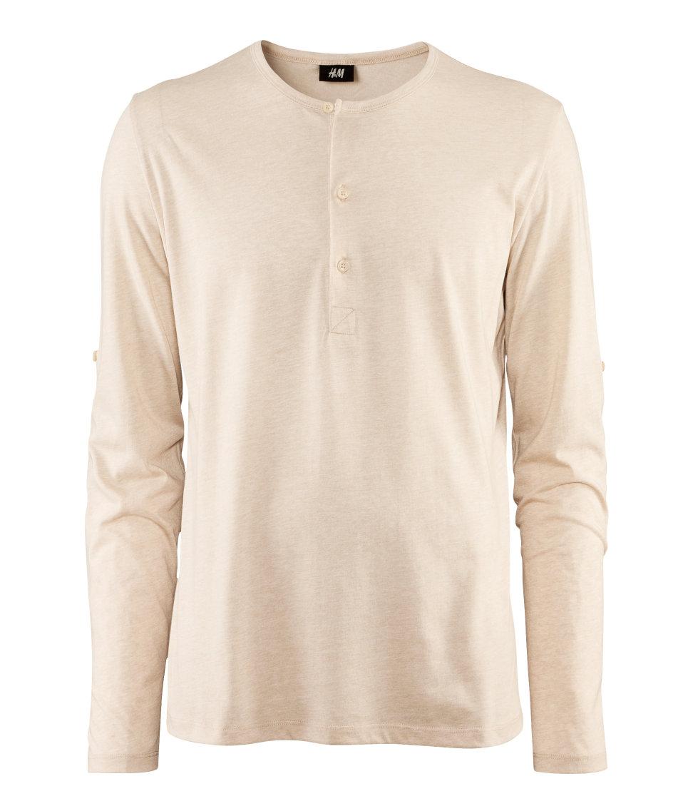 h m long sleeve t shirt in beige for men natural lyst. Black Bedroom Furniture Sets. Home Design Ideas