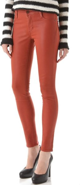 James Jeans Twiggy Slicked Super Skinny Jeans in Red (cinnamon)