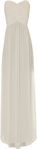 Jane Norman Pleat Bodice Maxi in White (cream) - Lyst