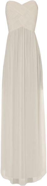Jane Norman Pleat Bodice Maxi in White (cream)