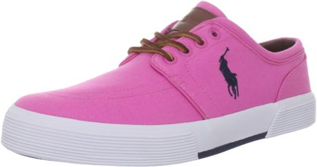 polo ralph mens faxon low sneaker in pink for
