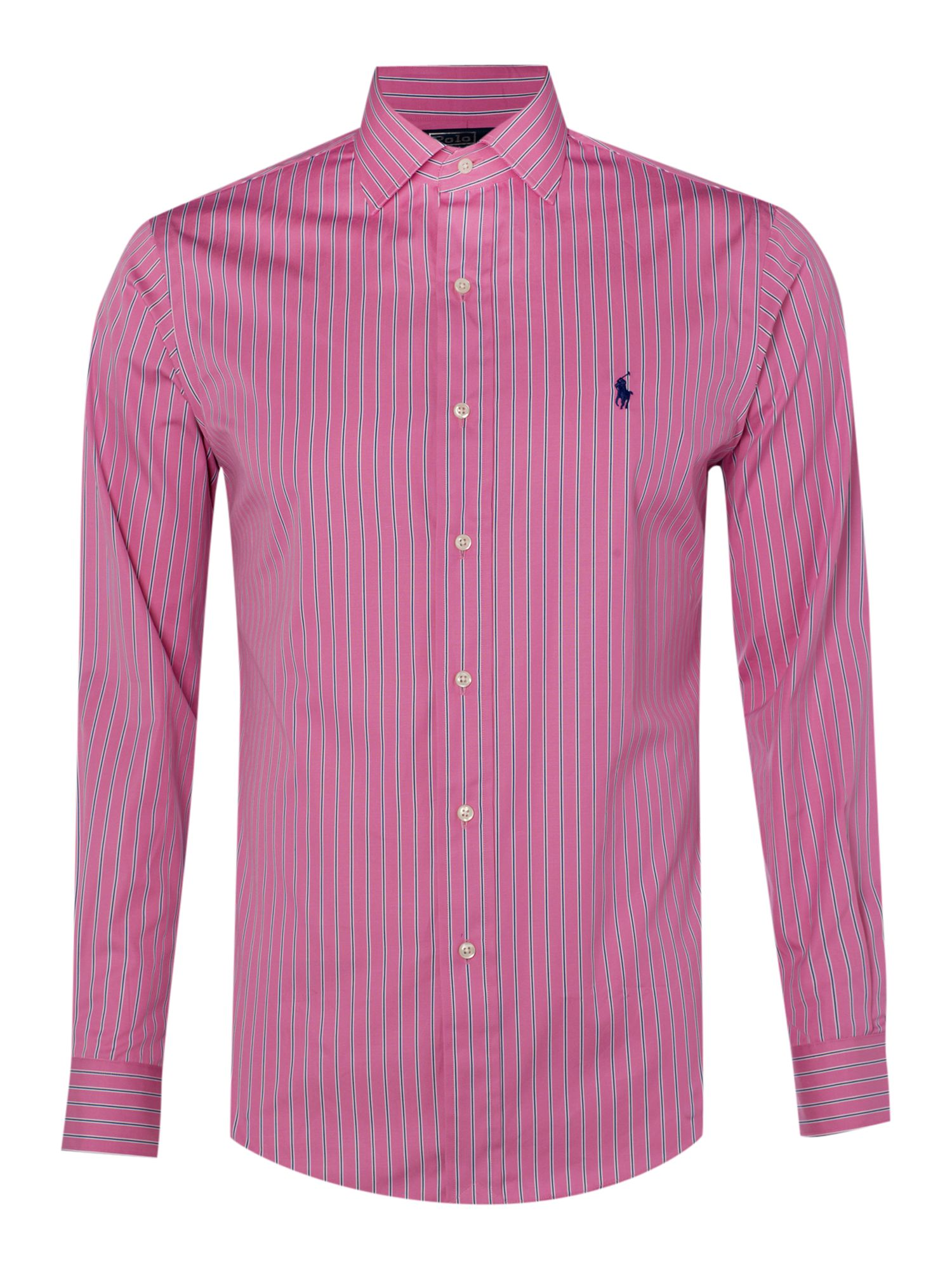 Polo ralph lauren long sleeved regent striped shirt in for Polo shirts without buttons