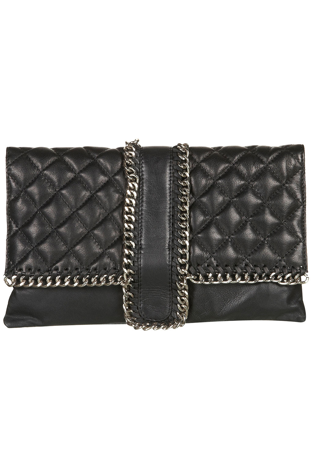 Topshop Leather Quilted Chain Clutch Bag In Black Lyst