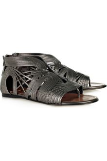 Alaïa Multistrap Metallic Leather Sandals - Lyst